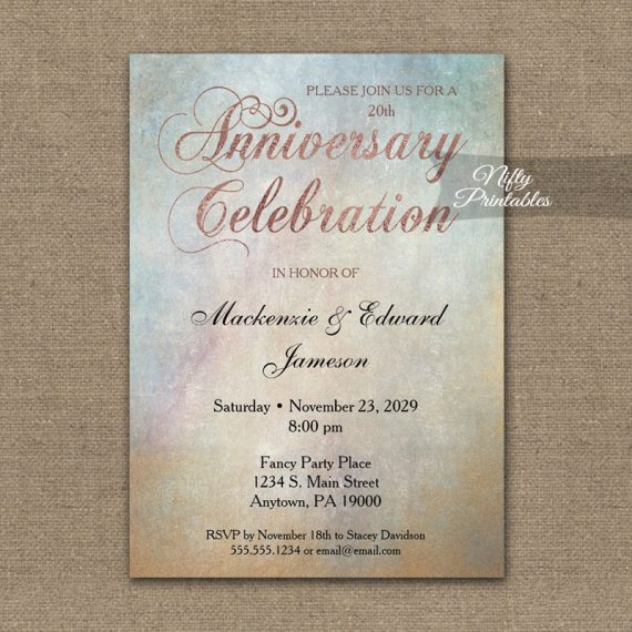 Anniversary Invitation Watercolor Rose Gold PRINTED