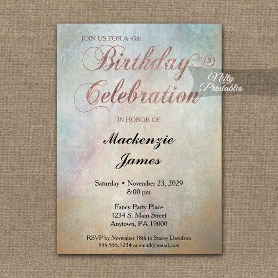 Birthday Invitation Watercolor Rose Gold PRINTED