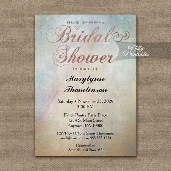 Bridal Shower Invitation Watercolor Rose Gold PRINTED
