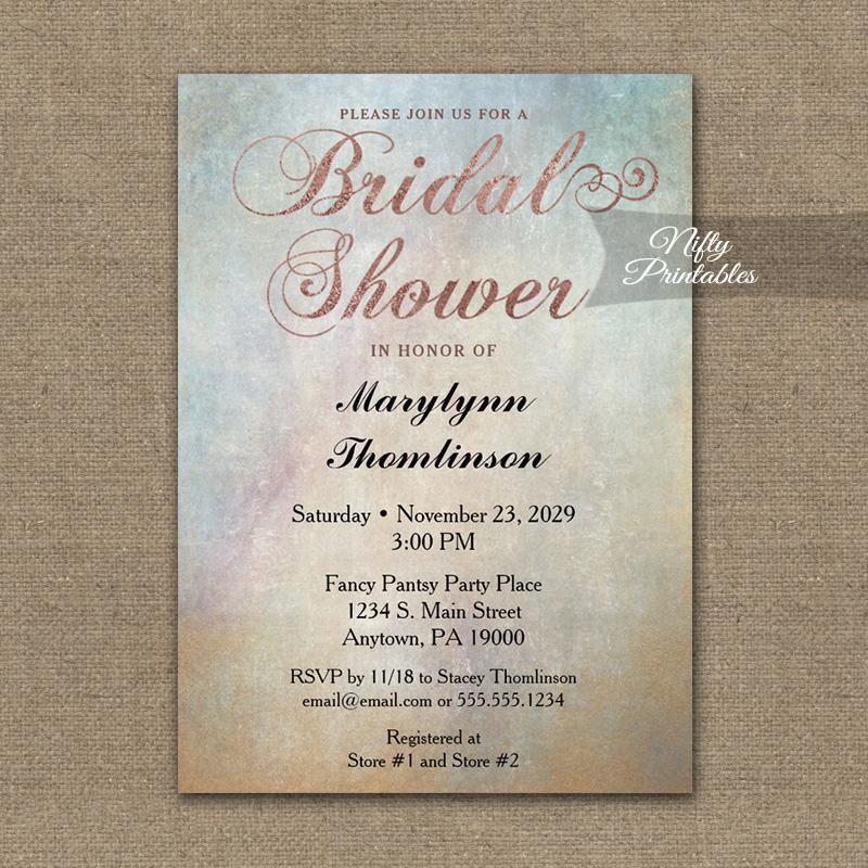 Bridal Shower Invitation Watercolor Rose Gold PRINTED