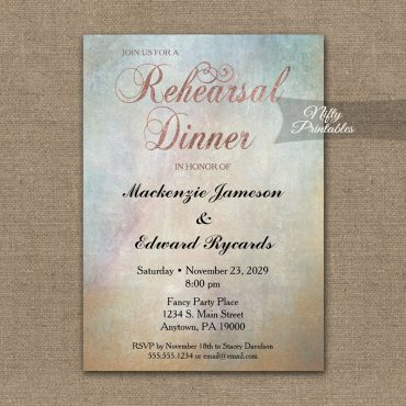 Rehearsal Dinner Invitation Watercolor Rose Gold PRINTED