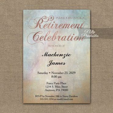 Retirement Invitations Watercolor Rose Gold PRINTED