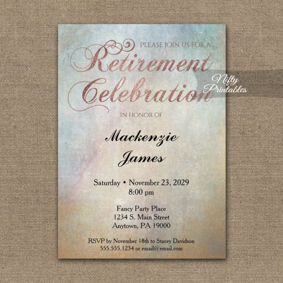 Retirement Invitation Watercolor Rose Gold PRINTED