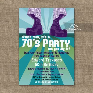 70s Party Invitation Groovy Disco PRINTED