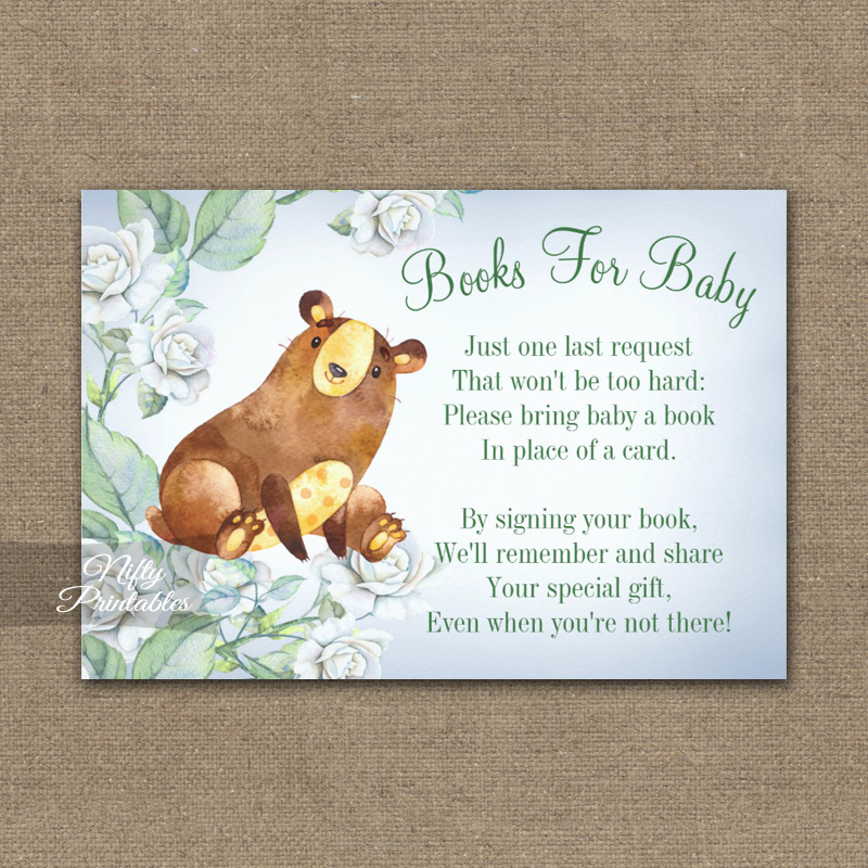 Bring A Book Insert Bear Woodland Floral Baby Shower PRINTED