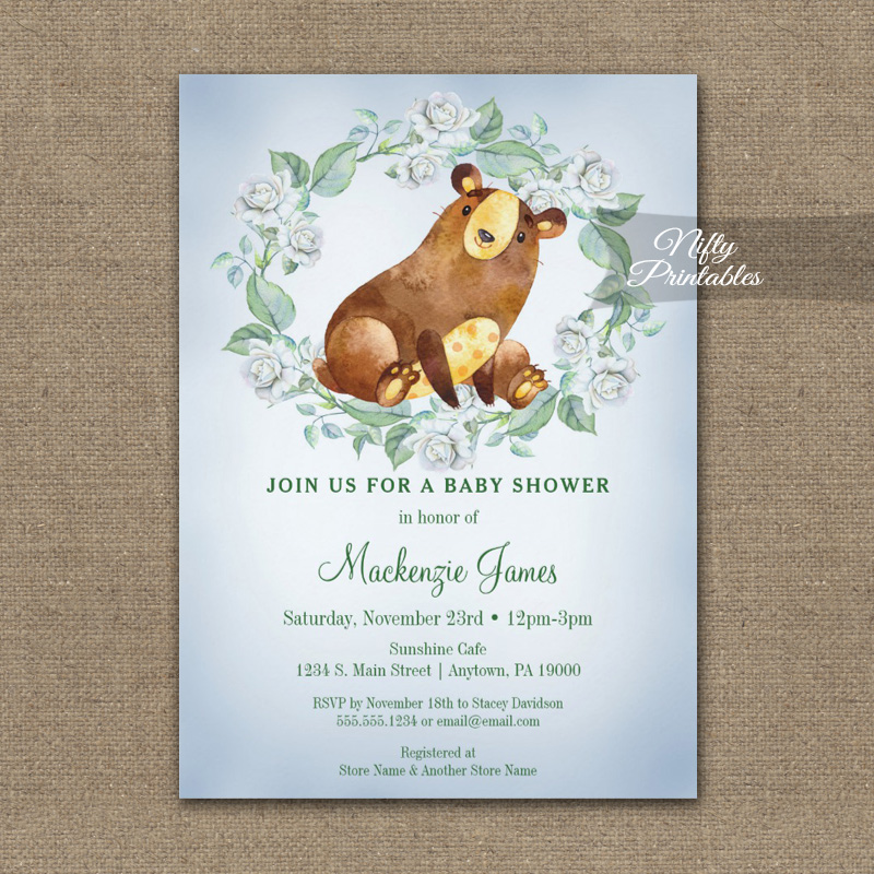 Baby Shower Invitation Bear Woodland Floral PRINTED