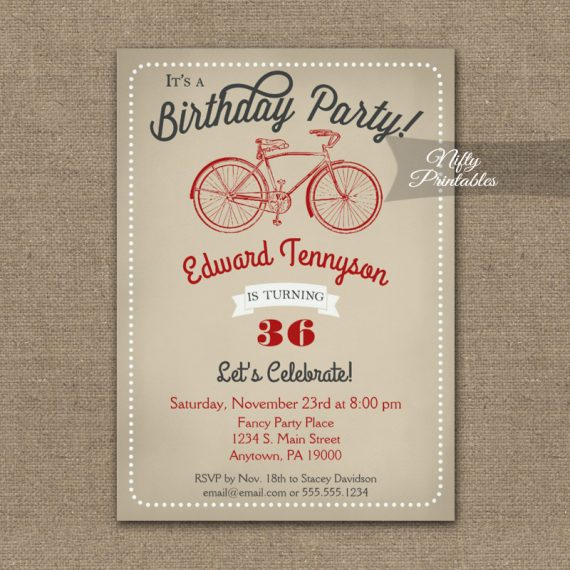 Birthday Invitation Vintage Mens Bicycle PRINTED