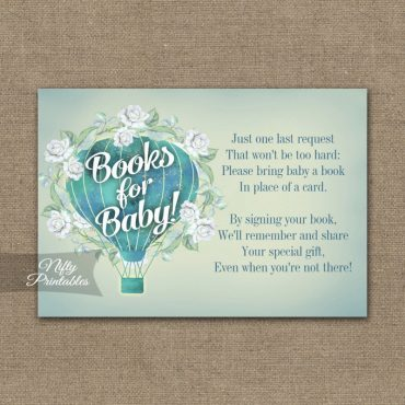 Bring A Book Insert Turquoise Blue Aqua Hot Air Balloon Baby Shower PRINTED