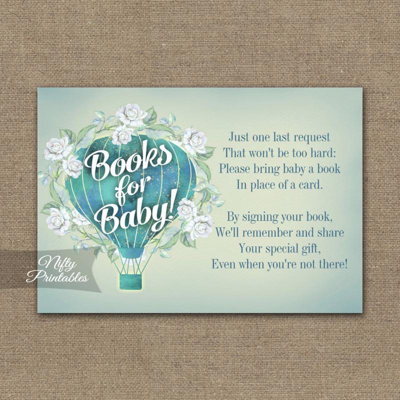 Bring A Book Insert Turquoise Blue Aqua Hot Air Balloon Baby Shower PRINTED