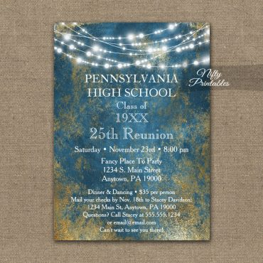 Class Reunion Invitation Blue Gold School PRINTED