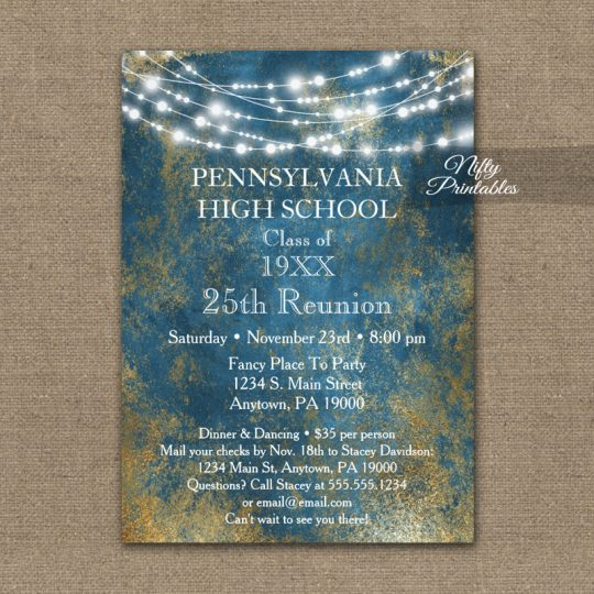 Class Reunion Invitations Blue Gold School PRINTED