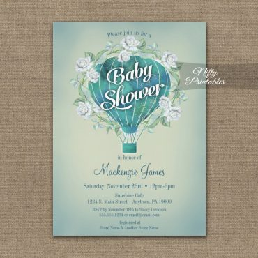 Baby Shower Invitation Turquoise Blue AquaHot Air Balloon PRINTED