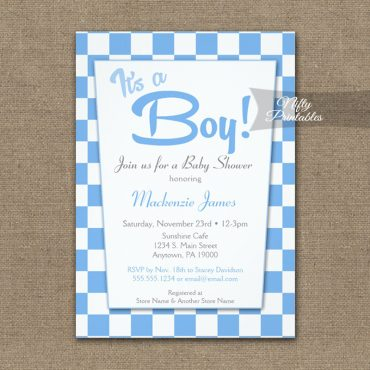 Baby Shower Invitation 50s Retro Blue It's A Boy PRINTED