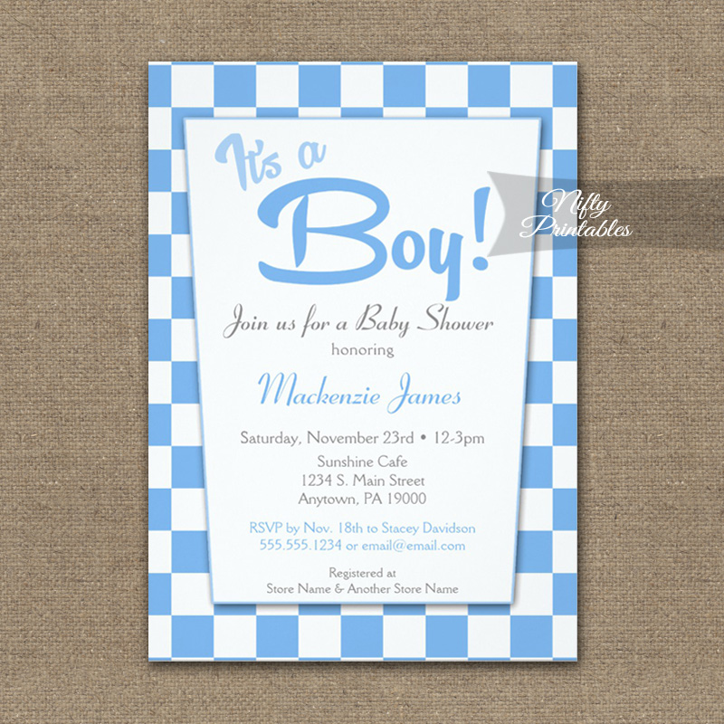 Baby Shower Invitation 50s Retro Blue It's A Boy PRINTED