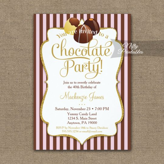 Birthday Invitations Chocolate Party PRINTED