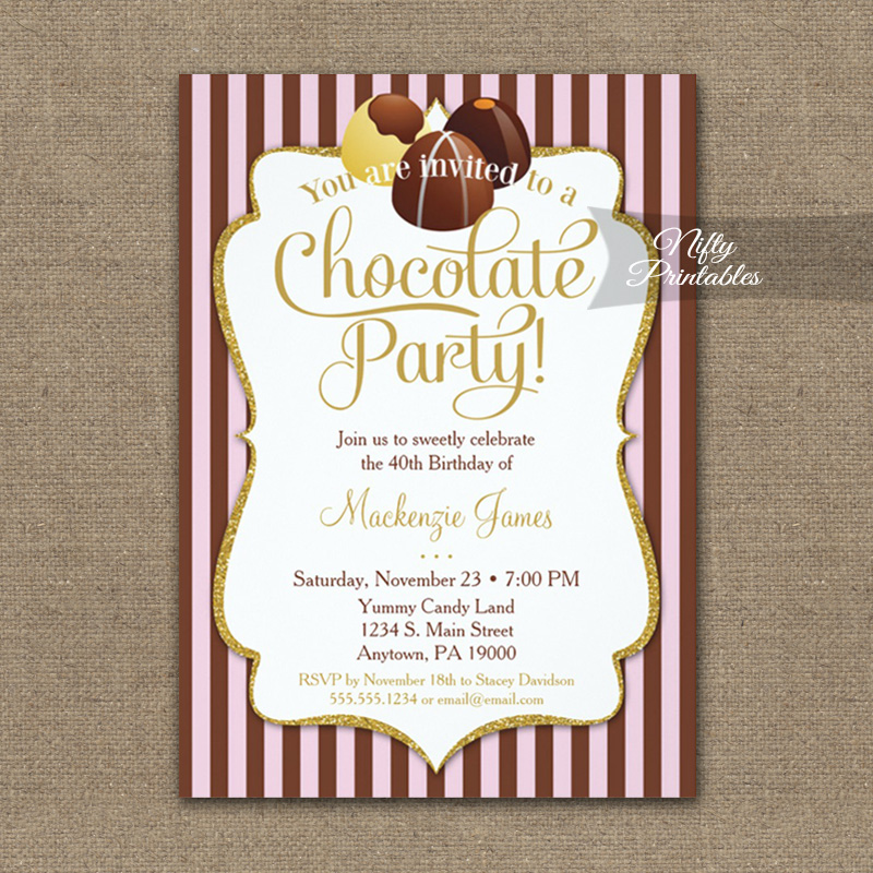 Birthday Invitation Chocolate Party PRINTED