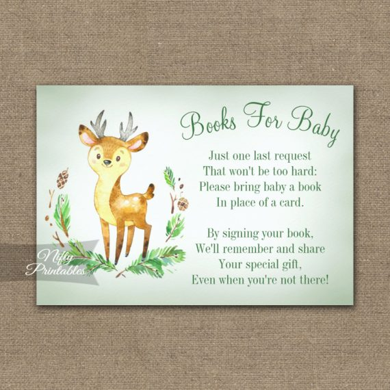 Bring A Book Insert Deer Woodland Animal Baby Shower PRINTED