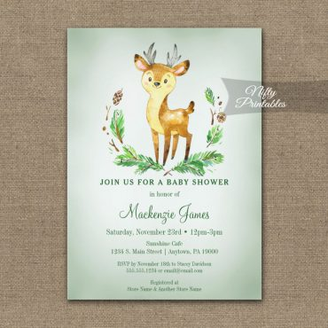 Baby Shower Invitations Deer Woodland Animal PRINTED