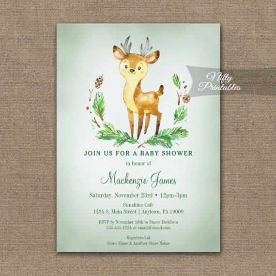Baby Shower Invitation Deer Woodland Animal PRINTED