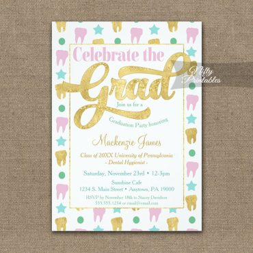 Graduation Invitations Dental Hygienist Dentist Pink Gold PRINTED