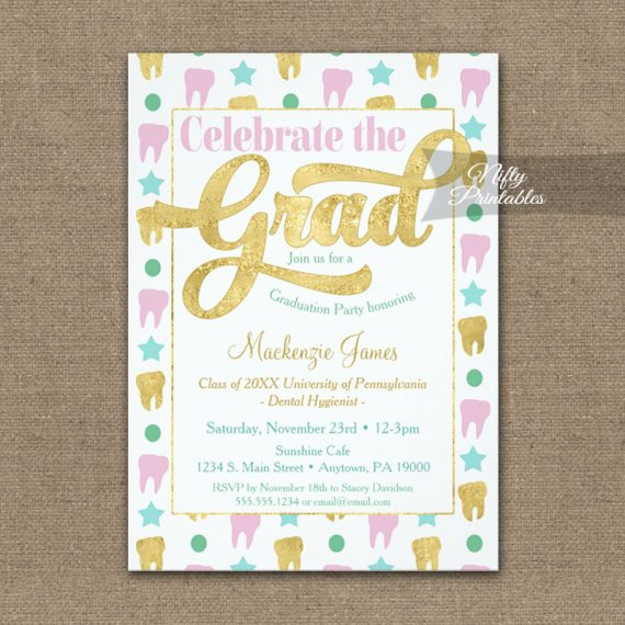 Graduation Invitation Dental Hygienist Dentist Pink Gold PRINTED
