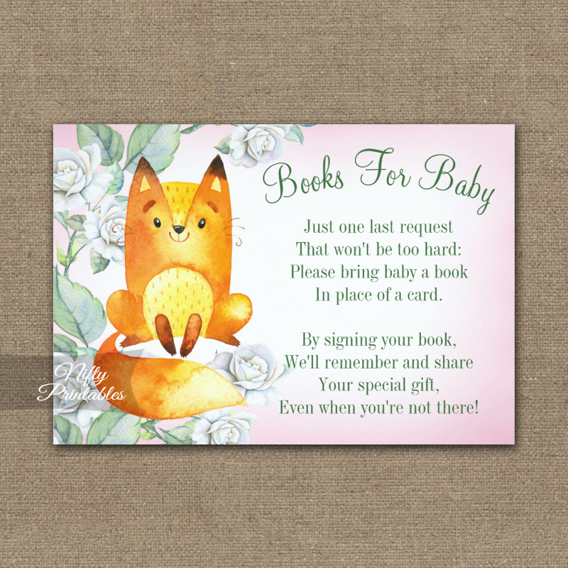 Bring A Book Insert Fox Woodland Floral Baby Shower PRINTED