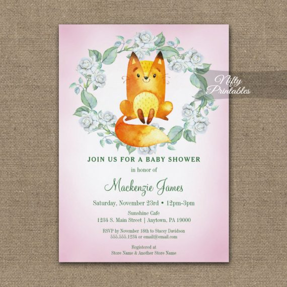 Baby Shower Invitation Fox Woodland Floral PRINTED