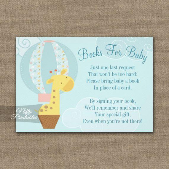 Bring A Book Insert Giraffe Hot Air Balloon Baby Shower PRINTED