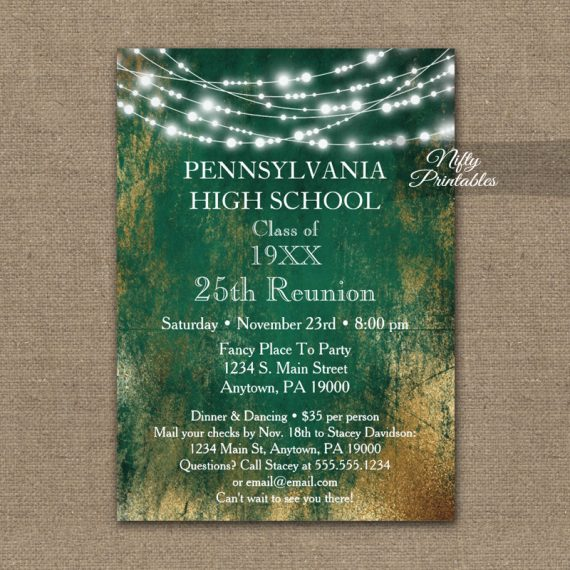 Class Reunion Invitation Green Gold School PRINTED