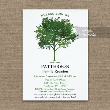 Green Tree Family Reunion Invitation PRINTED