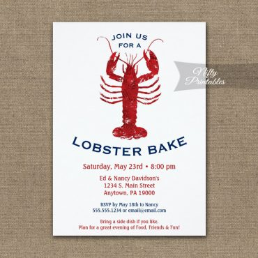 Lobster Bake Boil Invitations Red White & Blue PRINTED