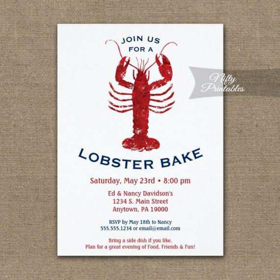 Lobster Bake Boil Invitation Red White & Blue PRINTED