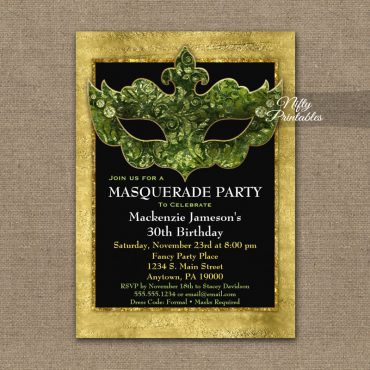Masquerade Invitation Green Gold Mask PRINTED