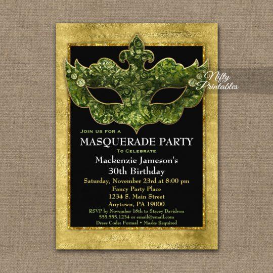 Masquerade Invitations Green Gold Mask PRINTED