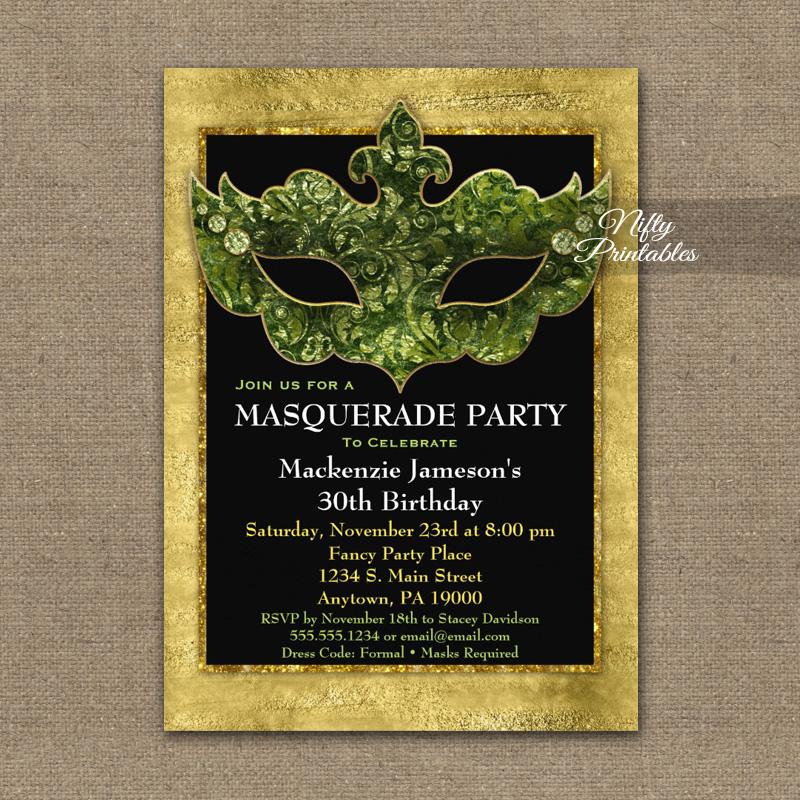 Masquerade Invitation Green Gold Mask PRINTED
