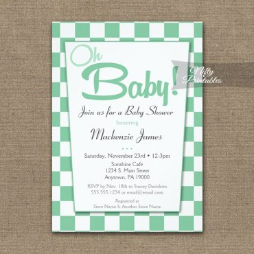 Baby Shower Invitations 50s Retro Mint Green PRINTED