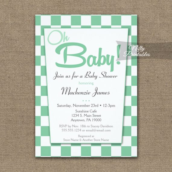 Baby Shower Invitation 50s Retro Mint Green PRINTED