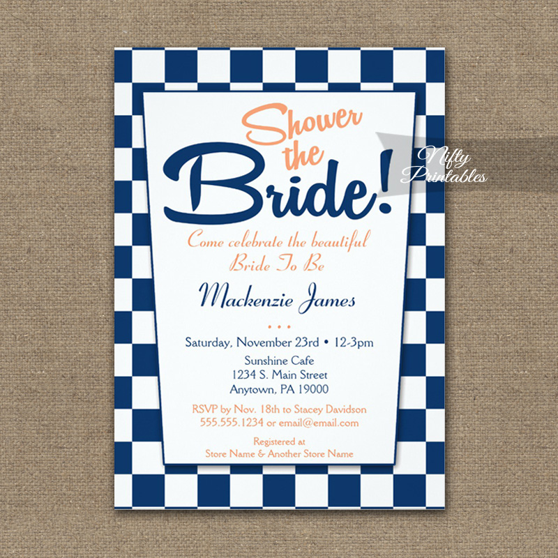 Bridal Shower Invitation 50s Retro Navy Blue Peach PRINTED