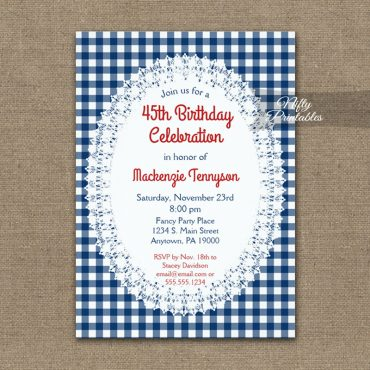 Birthday Invitation Rustic Country Casual Navy Blue PRINTED