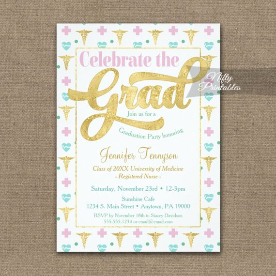 Graduation Invitation Nurse Doctor RN LPN Pink Gold PRINTED
