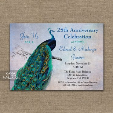 Peacock Anniversary Invitation Blue Turquoise PRINTED