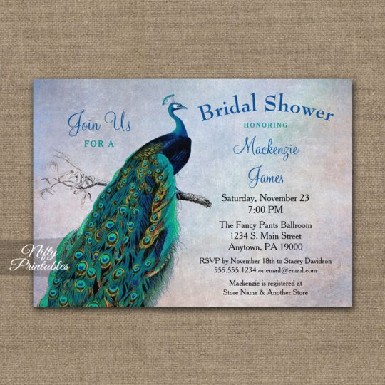 Peacock Bridal Shower Invitations Blue Turquoise PRINTED