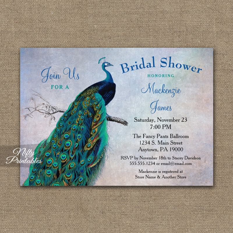 494a7f506e5 Peacock Bridal Shower Invitation Blue Turquoise PRINTED - Nifty ...
