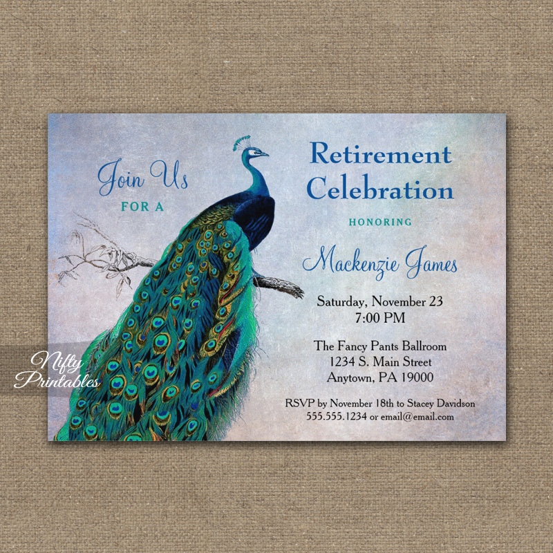 peacock retirement invitation blue turquoise printed