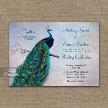 Peacock Wedding Invitation Blue Turquoise PRINTED