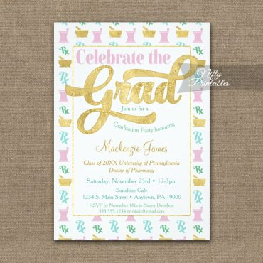 Graduation Invitations Pharmacy Pharmacist Pink Gold PRINTED
