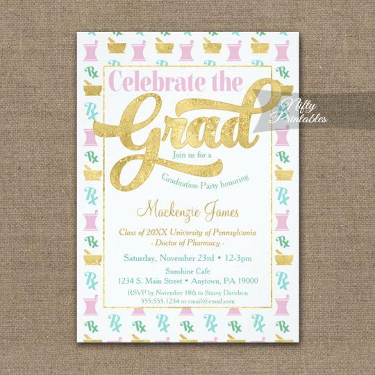 Graduation Invitations Pharmacy Pharmacist Pink Gold PRINTED