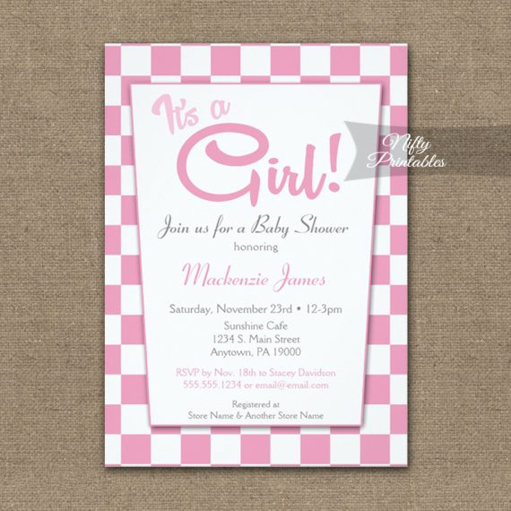Baby Shower Invitation 50s Retro Pink It's A Girl PRINTED