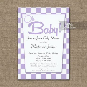 Baby Shower Invitations 50s Retro Purple Lavender Lilac PRINTED
