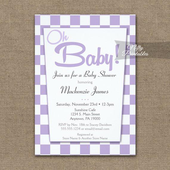 Baby Shower Invitation 50s Retro Purple Lavender Lilac PRINTED